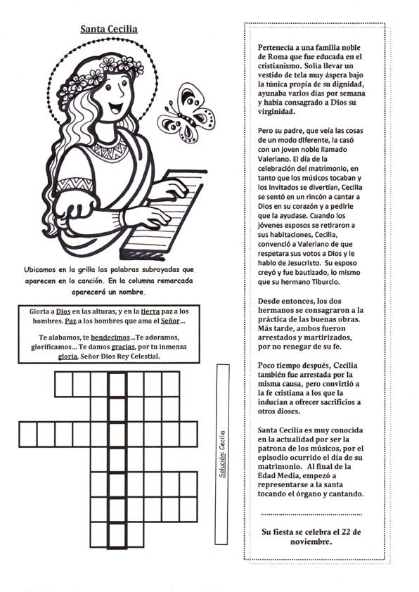 El Rincon De Las Melli Breve Historia De Santa Cecilia Con Juego Santa Cecilia Vidas De Santos Patrona De La Musica