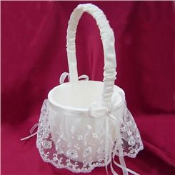Elegant Flower Basket in Satin & Lace With Bowknot #Reception and Favor  #Wedding Ceremony #Flower Girl Basket #Cheap Flower Girl Baskets #Unique Flower Girl Baskets