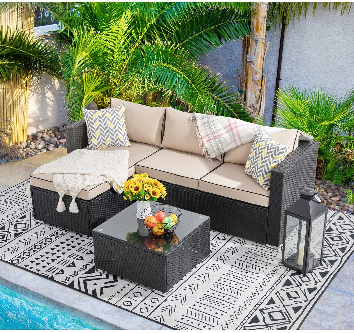 Amazon Com Walsunny Outdoor Furniture Patio Sets Low Back All Weather Small Rattan Sectional Sofa With Tea Table In 2020 Patio Set Furniture Outdoor Sectional Sofa