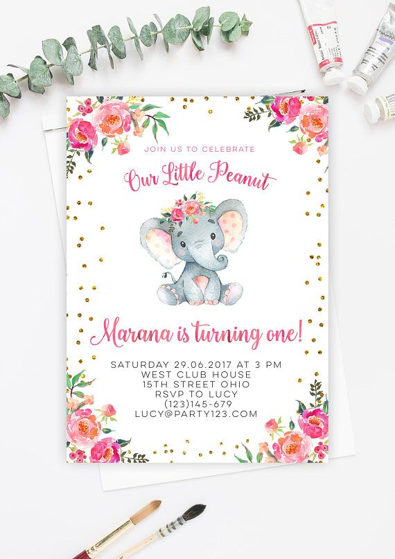 Pink and gold elephant invitation girl elephant birthday invite pink and gold elephant invitation girl elephant birthday invite girl elephant 1st birthday invitat stopboris Gallery