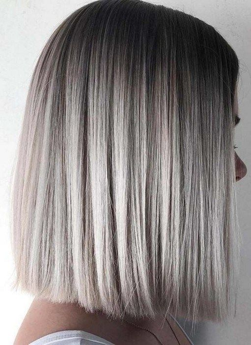 35 Shades Of Grey Silver And White Highlights For Eternal Youth Straight Bob Haircut Thick Hair Styles Hair Styles