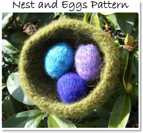 Free Felted Knit Pattern For A Nest And Eggs Easter Nest And Knit