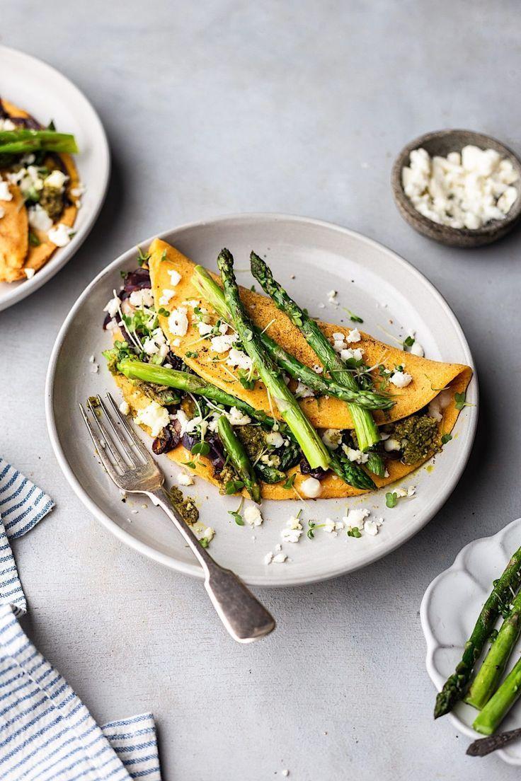 Vegan Asparagus Pesto And Feta Omelette