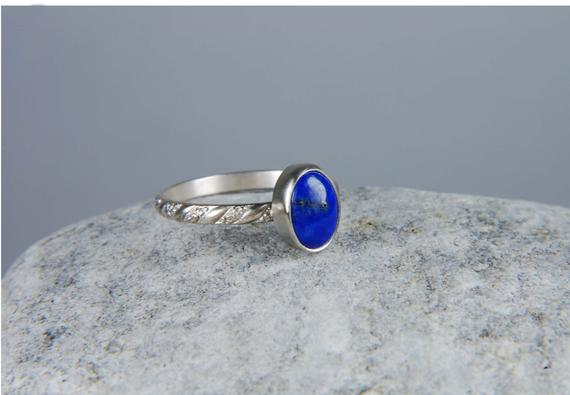 Handmade Silver Men/'s Ring With Natural Lapis Lazuli Stone