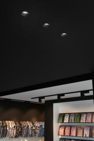 Three Aplis In Line Downlights Integrated In Black Plasterboard