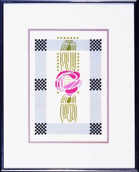Flowering Cactus Charles Rennie Mackintosh Counted Cross Stitch Chart Pattern