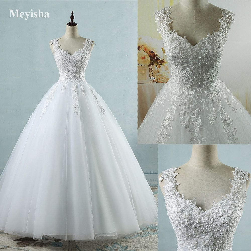 Zj ball gowns spaghetti straps white ivory tulle wedding dresses
