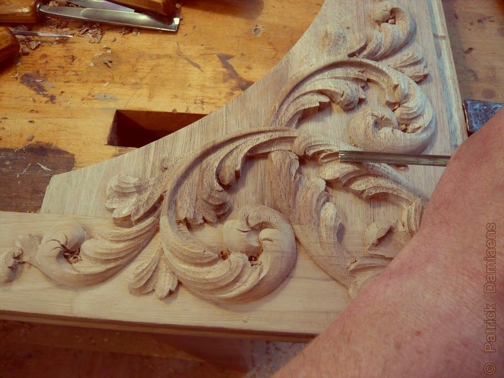 Wood carving designs furniture - Ornamental Woodcarver Patrick Damiaens 17th Century Style Wood Carving Acanthus Leaf Design Carved In