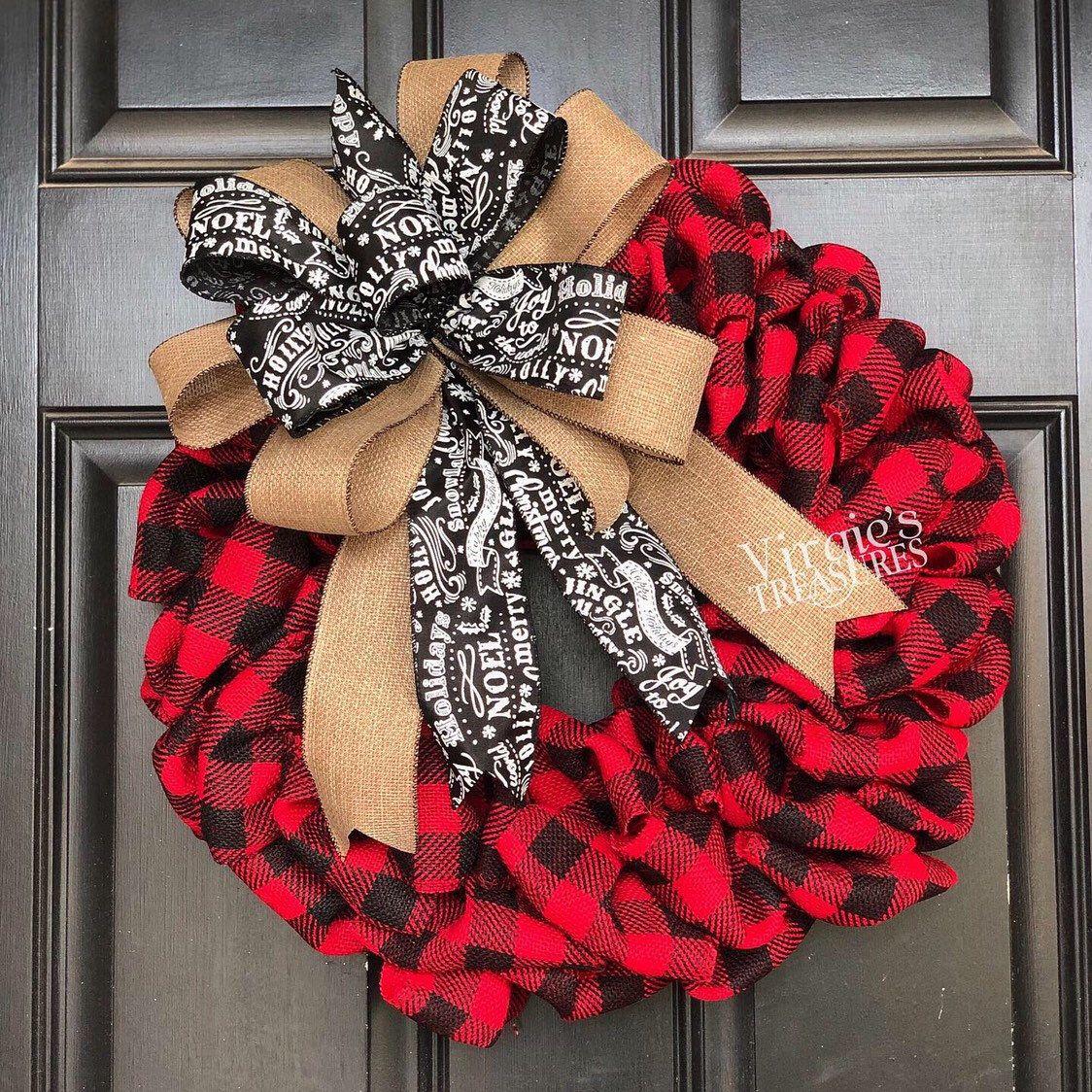 Photo of Buffalo Plaid Wreath, Front Door Wreath, Holiday Wreath, Red Black Buffalo Plaid Wreath, Farmhouse Wreath, Christmas Wreath, Winter Wreath