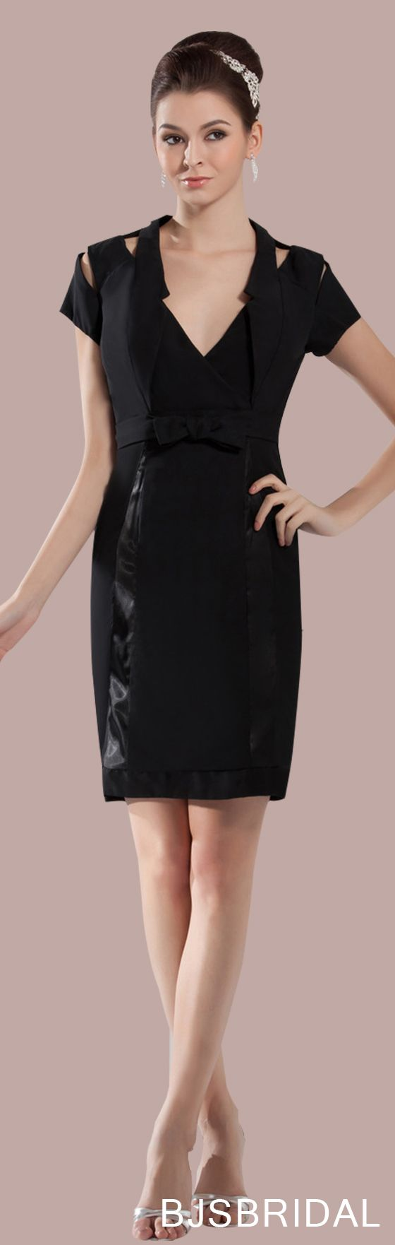 Black mature vneck zipper chiffon knee length short ribbon