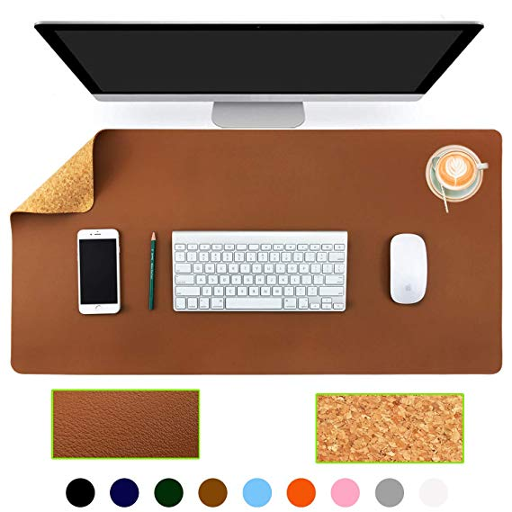 Amazon Com Aothia Eco Friendly Natural Cork Pu Leather Double Sided Office Desk Mat 31 5 X 15 7 Mouse Pad Smooth Surf Desk Mat Easy Cleaning Leather Desk