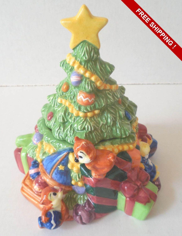 Vintage Ceramic Disney Christmas Tree Trinket Box Chip And Dale Pluto Disney Christmas Tree Disney Christmas Vintage Ceramic