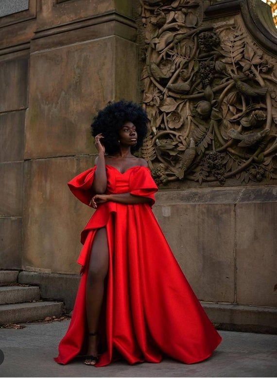 Red prom dresses with slit,Red vintage prom dress,