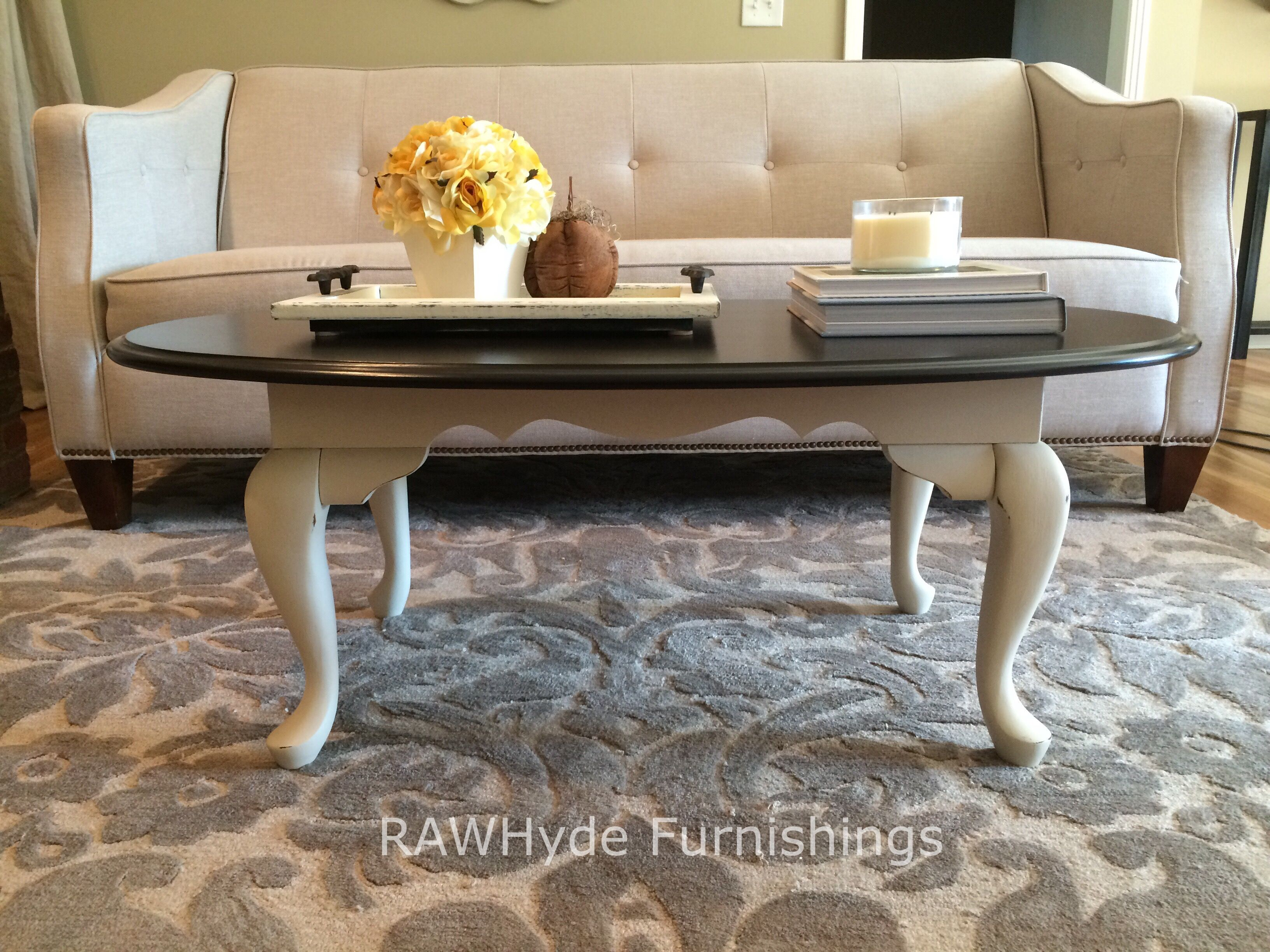 Queen Anne style coffee table painted white with light distressing