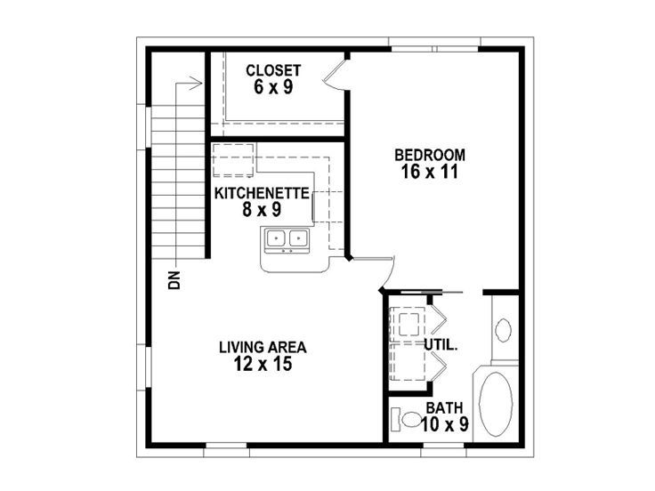 garage apartment plan for a narrow strip of property | House plans ...