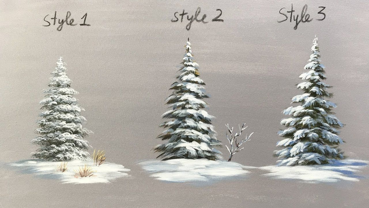 Winter Serie 4 How To Paint Snowy Acrylic Pine Trees Pine Tree Painting Christmas Tree Painting Tree Painting