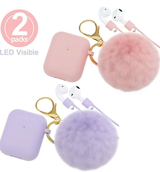 Brg For Airpods Case Soft Silicone Cover For Apple Airpods 2 Keychain Strap Earbuds Accessories Silicone Cover Apple Airpods 2 Phone Case Accessories