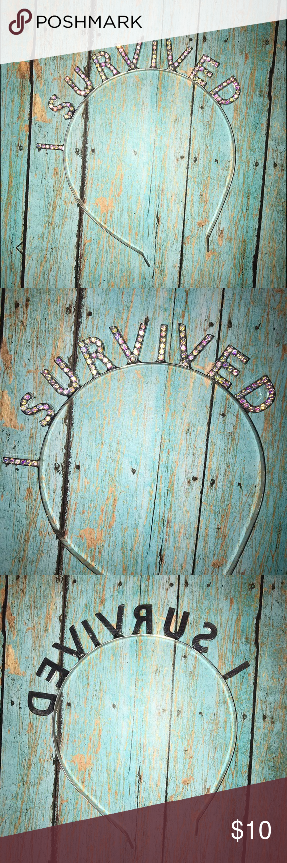 """I SURVIVED"" rhinestone headband Super sparkly and fun ""I SURVIVED"" rhin...  ""I SURVIVED"" rhinestone headband Super sparkly and fun ""I SURVIVED"" rhinestone headband. Ne #fun #Headband #rhin #Rhinestone #Sparkly #super #SURVIVED"