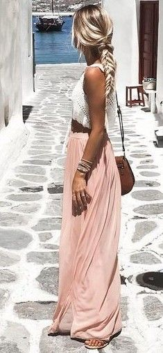 8980a2d9a92 Stylish outfit ideas you must try. summer outfits White Crochet Top + Blush Maxi  Skirt ...