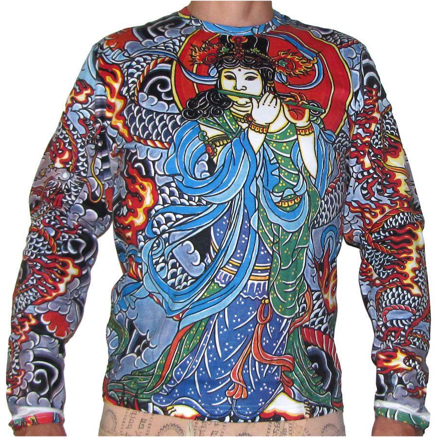 T shirt japanese design - Japanese Goddess Irezumi Tattoo Long Sleeve Biker T Shirt Slim Fit Unisex Xl New