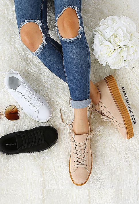 4a4a5bb2e24a Faux Suede Platform Sneakers NUDE