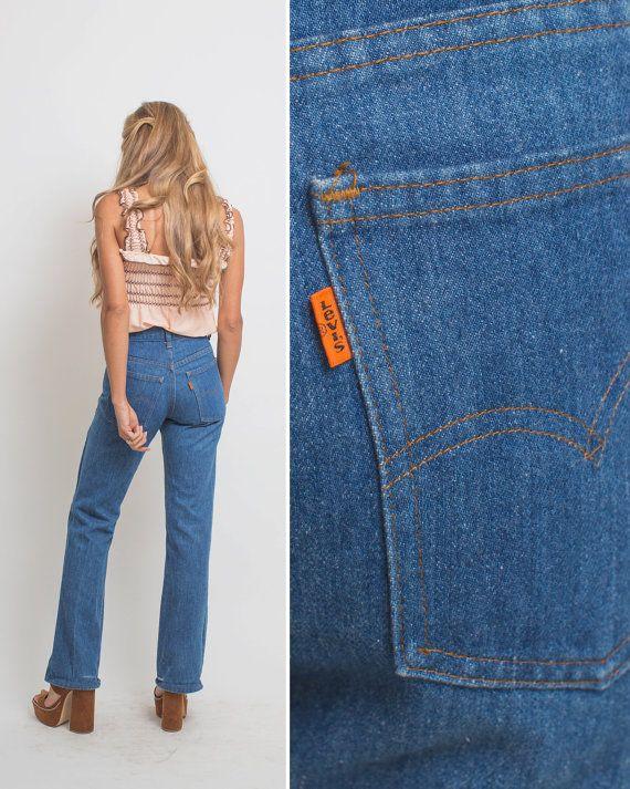 Orange Tab Levis Vintage Denim Vintage Jeans High Waist 70s Levi S Small High Waisted Hippie Boho Jeans Bell Bottom Jean Vintage Denim Boho Jeans Vintage Jeans
