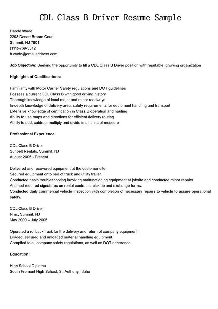 Class B Cdl Driver Resume Template \u2014 Best Design  Tips \u2026 cdl resume