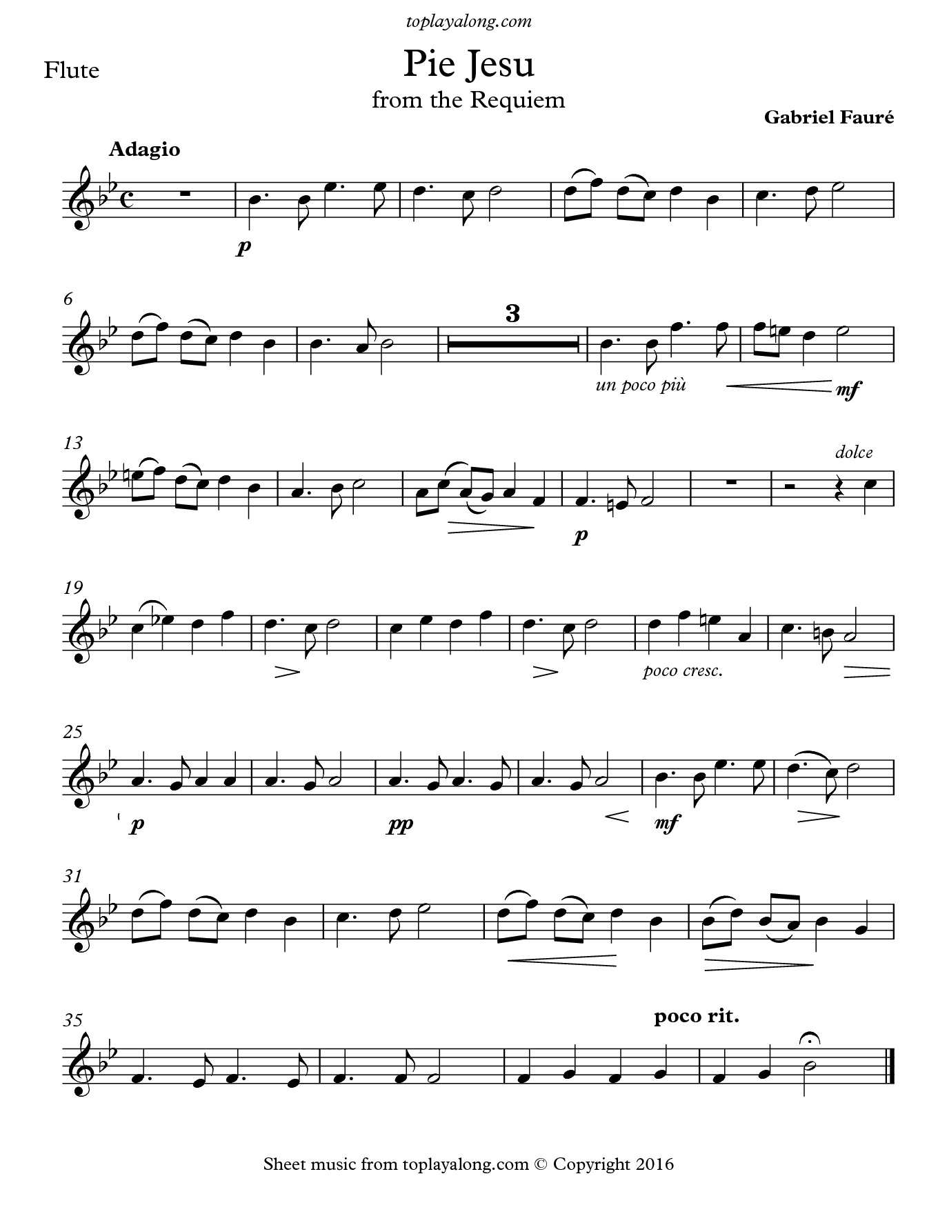 Pie Jesu From The Requiem By Faure Free Sheet Music For Flute Visit Toplayalong Com And Get Access To Hundreds Partituras Partituras Violin Partitura Flauta
