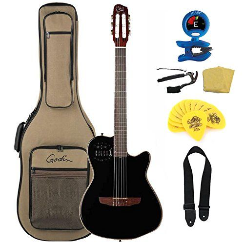 Amazon Com Godin A6 Ultra Black Two Chambered Electro Acoustic Guitar Bundle With Gig Bag Musical Instruments Electro Acoustic Guitar Guitar Acoustic Guitar
