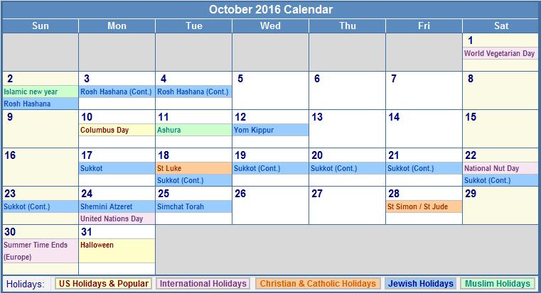October 2016 Calendar With Holidays Png 761 413