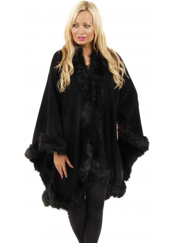 Paris Black Knitted Faux Fur Trim Cape