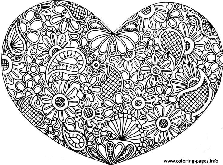 Print Adult Mandala Heart Love 2016 Coloring Pages