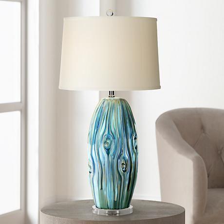 Possini Euro Eneya Blue Ceramic Table Lamp 7d694 Lamps Plus In 2020 Ceramic Table Lamps Table Lamp Unique Lamps