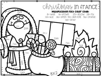 Christmas Around The World Mixed Multiplication Color By Number