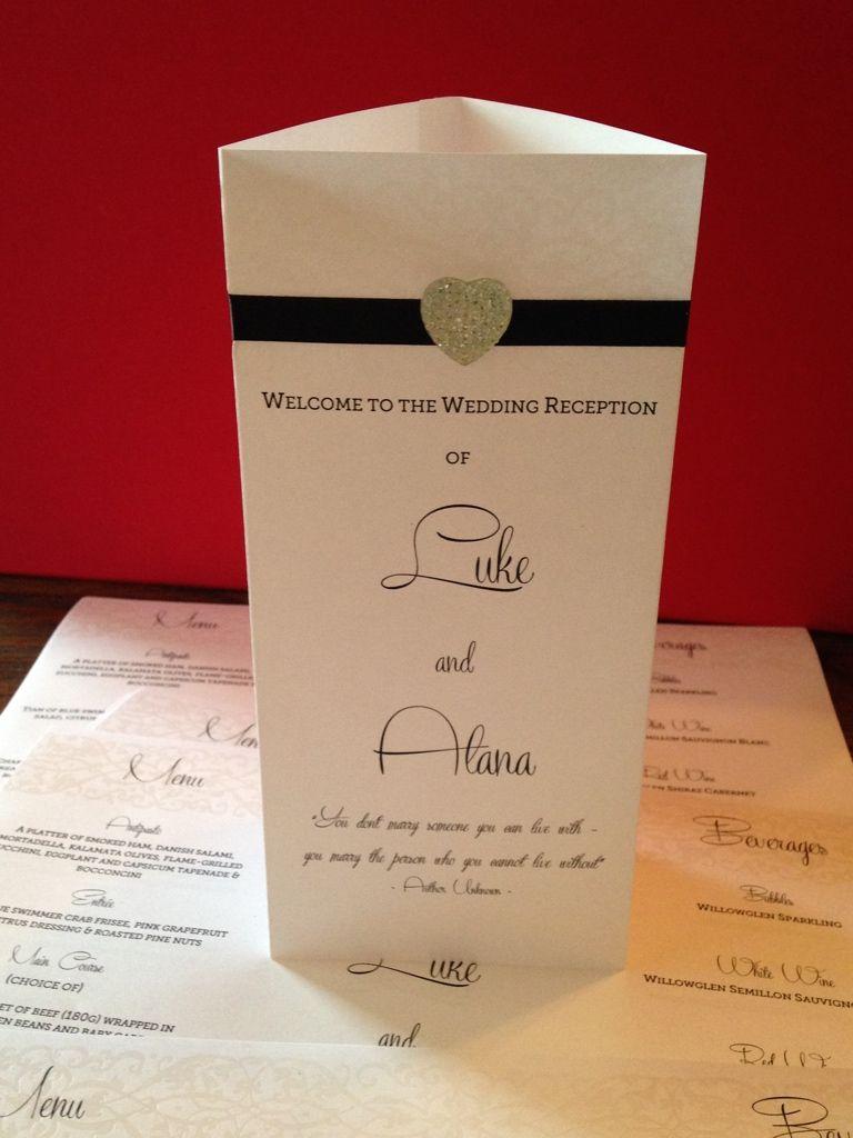 Handmade wedding table menu printed on embossed paper with heart ...
