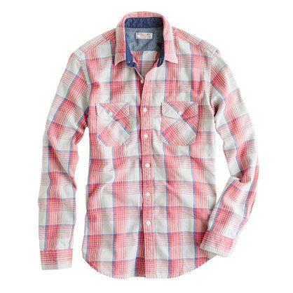 Wallace Barnes Heavyweight Flannel Shirt In Dusk Plaid Shirts