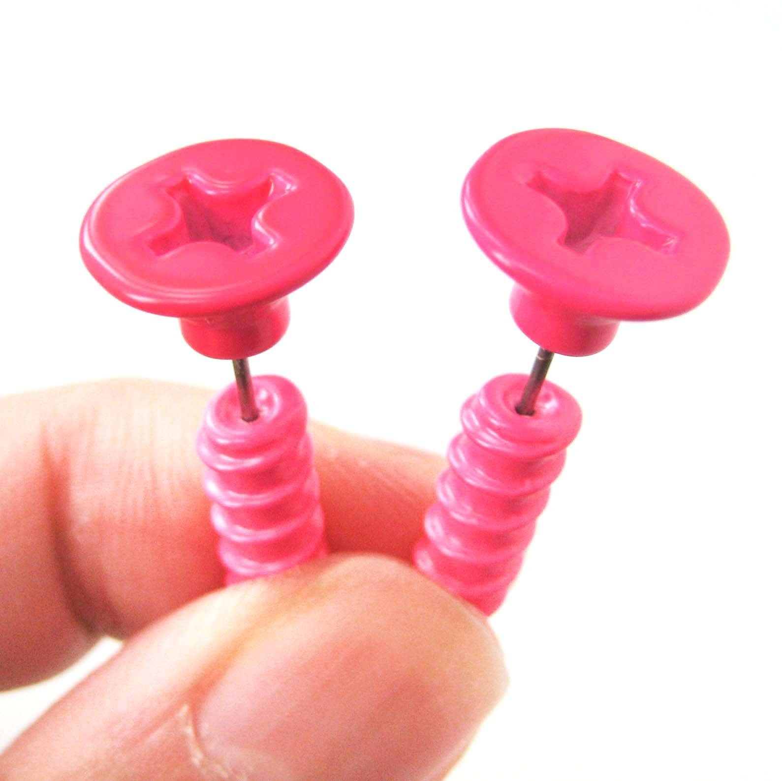 a7638fd3a 3D Fake Gauge Realistic Hammer Tool Stud Earrings In Bronze For Men And  Women