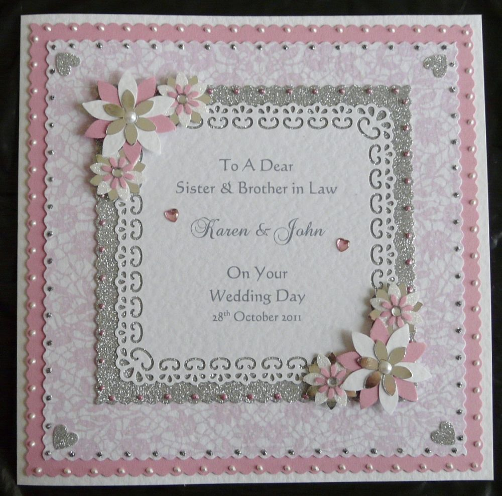 8x8 Personalised Wedding Day Card Son Daughter Sister Brother Friend All Colours