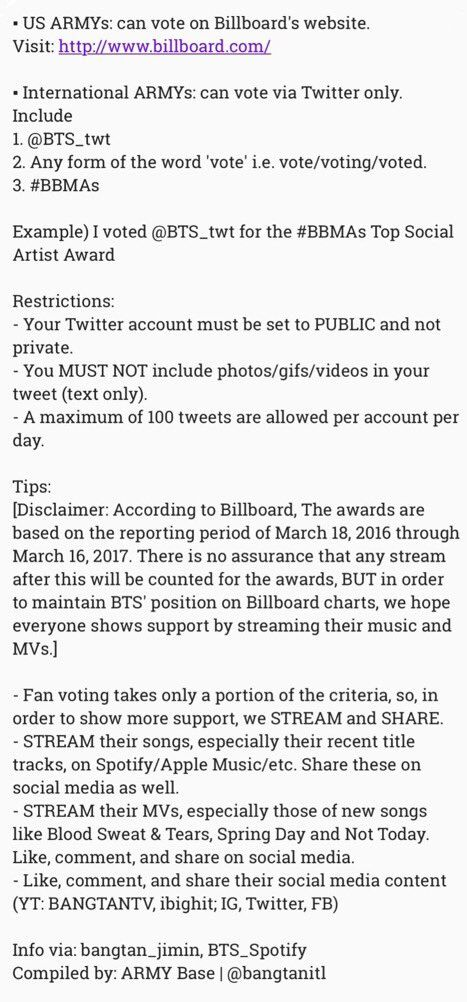 How to Vote for #BTS as Top Social Artist at the 2017 Billboard - army form
