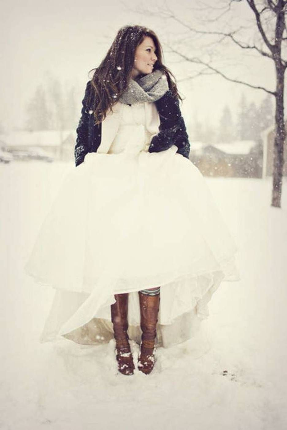 Love The Casual Boots And Jacket With Wedding Dress For Winter