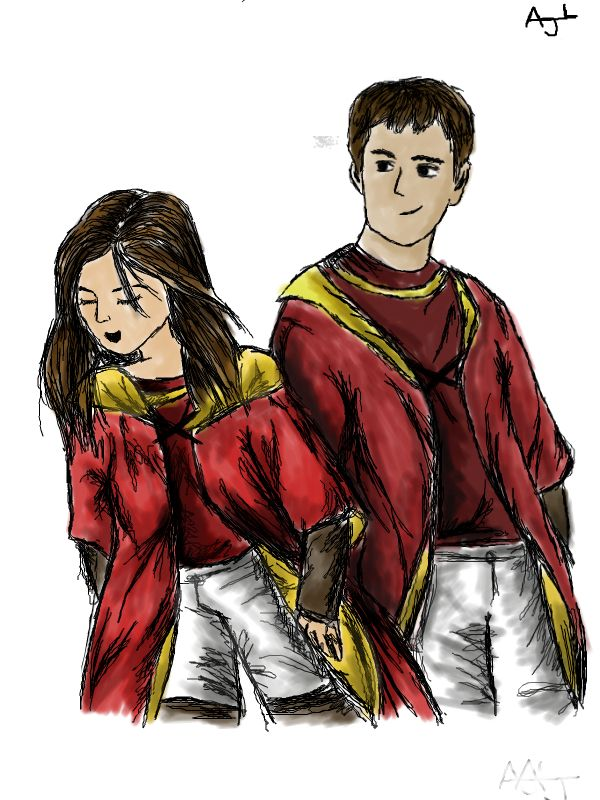 Katie Bell And Oliver Wood Harry Potter For Melody One Of My Fanfiction Buddies D Oliver Wood Harry Potter Katie Bell Harry Potter Oliver Wood
