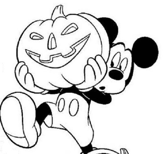 mickey mouse disney halloween pumpkin coloring pages - Mickey Mouse Coloring Pages