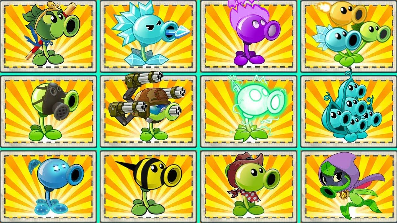 plants vs zombies 2 all peashooters max level