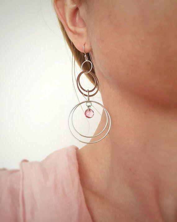 80f8c354cfb28 Long Hoop Earrings, Silver Dangle Earrings, Round Geometric Jewelry ...