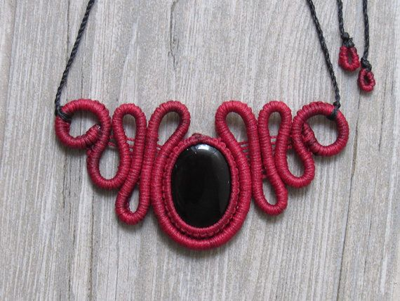 Macrame Necklace Red Color with Gemstone by MalkaJewelry on Etsy