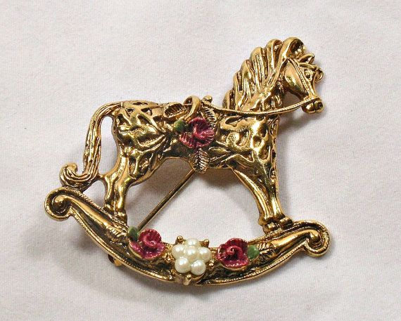 1928 Jewelry Rocking Horse Brooch Pin by RoseCottageVintage