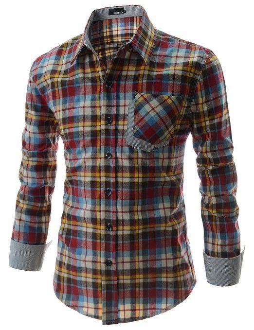 ShowBlanc SBCHS1098 Man's Checkered Pocket Patched Long Sleeve Cotton shirt at Amazon Men's Clothing store:
