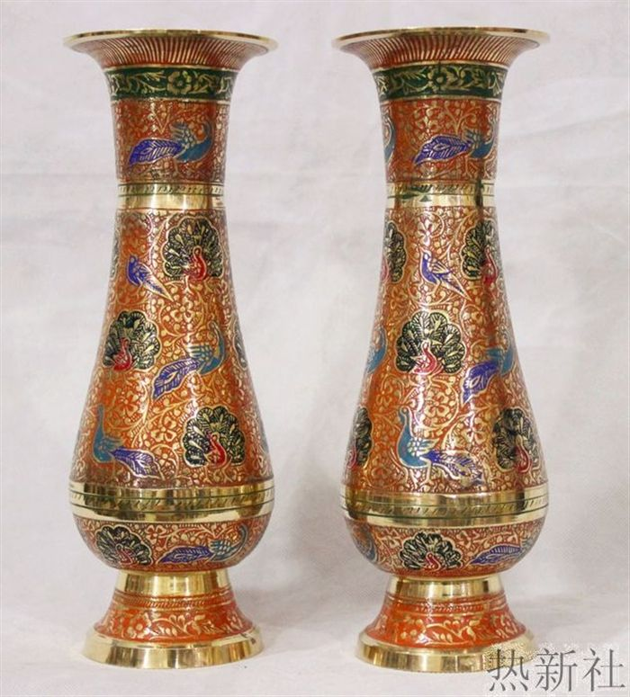India Imported Japanese Bronze Pakistan Orange Flower Flower Vase