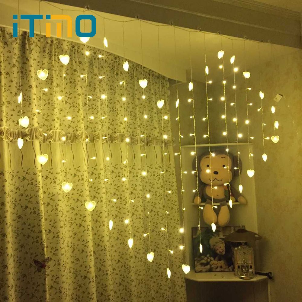 iTimo Heart Shape Fairy Lights Lighting String Lamps Curtain ...