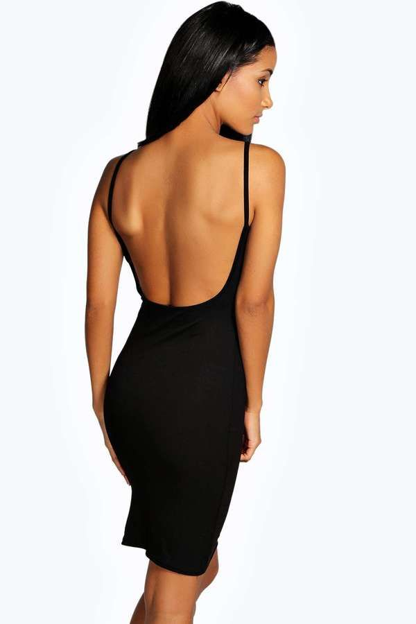 womens ladies extreme scoop low back backless bodycon summer midi party dress